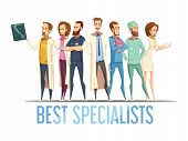 Best medical specialists design with smiling doctors and nurses in various poses cartoon retro style vector illustration poster