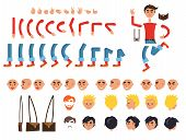 Male person character colorful constructor on white. Vector banner of human bent legs and arms, emotion types on faces, finger signs, colored hairstyles and brown bag. Build your own design set poster