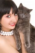 portrait of fashion woman with cat poster