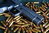 CZ. bullet 9mm background. Ammunition on a green background poster
