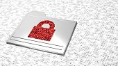 White smudge letter background with metal folder icon and red padlock filled with random letters ransomware concept 3D illustration poster