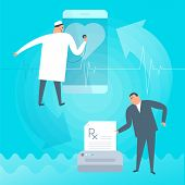 Doctor exams heartbeat remotely by smart phone. Online tele medicine flat concept illustration. Patient prints rx prescription medic listens heart at screen. Telemedicine telehealth vector design. poster