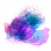 Imitation of strokes with a watercolor brush of blue pink purple colors on a white paper vector background. poster