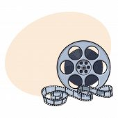Classical motion picture, cinema film reel, sketch style vector illustration with place for text. Hand drawn film reel, cinema object, footage material poster
