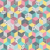 Memphis seamless pattern 80s-90s-vector illustration. Colorful geometric seamless pattern of cubes with different geometrical patterns. Bright colored cubes. poster