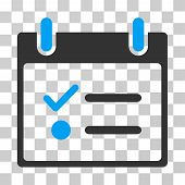 Todo List Calendar Day icon. Vector illustration style is flat iconic bicolor symbol, blue and gray colors, transparent background. Designed for web and software interfaces. poster