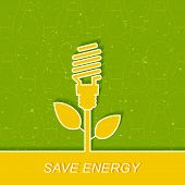 Green electric bulb, energy saving. Energy saving fluorescent light bulb icon. Concept of big ideas inspiration invention, effective thinking.Outline. poster