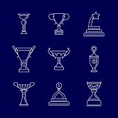 Trophy cup thin line icons. Linear podium award winning vector signs. Champion cup, reward and achievement illustration poster