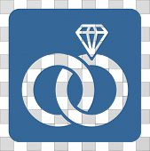 Jewelry Wedding Rings interface toolbar icon. Vector pictograph style is a flat symbol perforation centered in a rounded square shape, cobalt blue color. poster