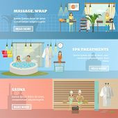 Vector set of spa therapy concept horizontal banners. Massage and wrap, Spa treatment and Sauna design elements in flat style. poster