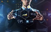 business, people, technology and cyberspace concept - close up of businessman in suit working with virtual reality screen and virtual screen projection over black background poster