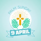 Calendar for each day . Greeting card. Holiday - palm Sunday. Icon in the linear style poster