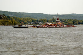 Tug Boat And Barge On Hudson