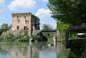Visconti bridge over the Mincio river 14th century Valeggio sul Mincio Veneto Italy.