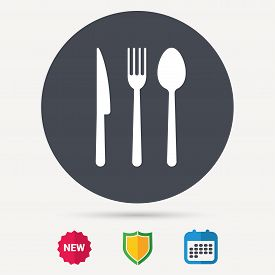 Fork, knife and spoon icons. Cutlery symbol. Calendar, shield protection and new tag signs. Colored flat web icons. Vector