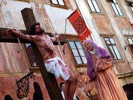 SKOFJA LOKA, SI - APRIL 4: Škofja Loka Passion Play, based on the oldest saved text in slovene language. Skofja Loka, april 4, 2009