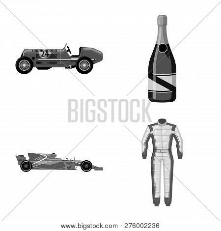Vector Illustration Of Car And Rally Logo. Set Of Car And Race Stock Symbol For Web.