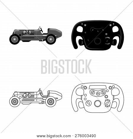 Vector Illustration Of Car And Rally Symbol. Collection Of Car And Race Stock Symbol For Web.