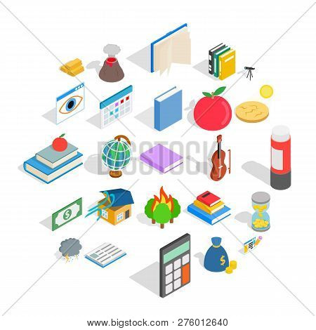 Chemical Reactions Icons Set. Isometric Set Of 25 Chemical Reactions Icons For Web Isolated On White
