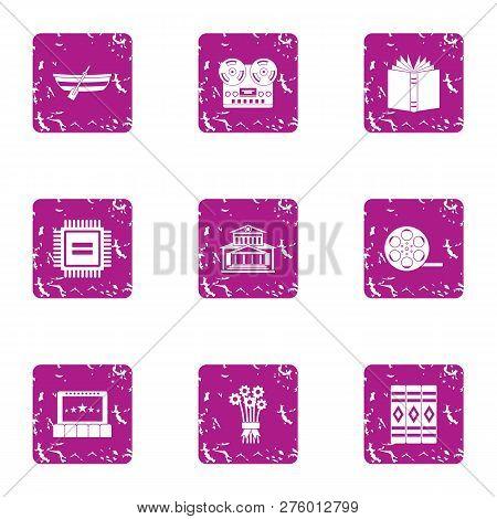 Valuable Formation Icons Set. Grunge Set Of 9 Valuable Formation Icons For Web Isolated On White Bac