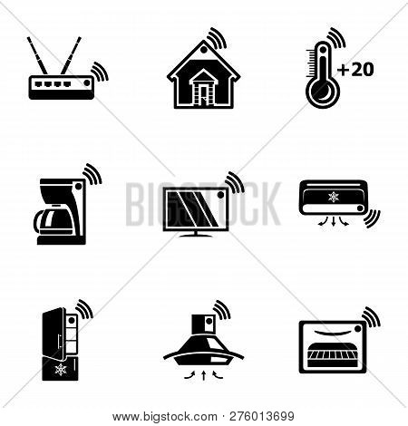 Wifi Home Icons Set. Simple Set Of 9 Wifi Home Icons For Web Isolated On White Background