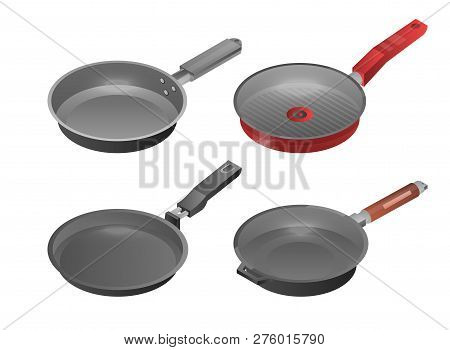Griddle Pan Icon Set. Isometric Set Of Griddle Pan Icons For Web Design Isolated On White Background