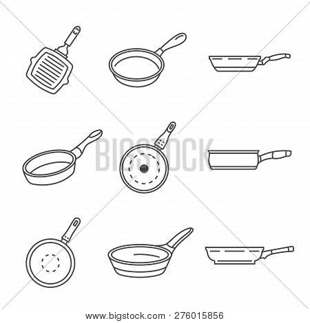 Griddle Pan Icon Set. Outline Set Of Griddle Pan Icons For Web Design Isolated On White Background