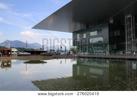 Lucerne, Switzerland - July 12, 2015: Culture And Congress Centre (kkl) With A Concert Hall, Which I