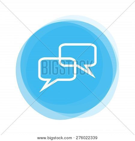 Isolated Light Blue Round Button With Speech Bubble Icon