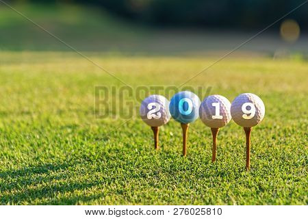 Golf Sport Conceptual. Happy New Year 2019. Golf Ball On The Tee.  Holiday And Sport Concept.