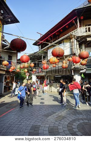 Jiufen, Taiwan - November 21, 2018: Scenic Of Jiufen Village. This Place Is A Travel Destination In