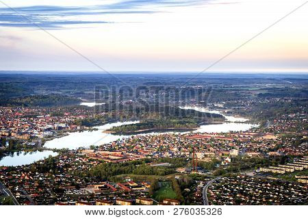 Silkeborg City In Denmark Seen From Above On A Beautiful Morning