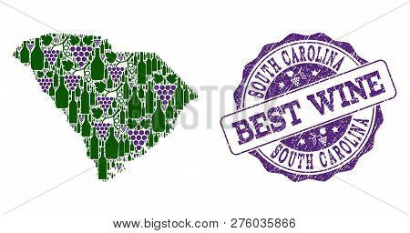 Vector Collage Of Grape Wine Map Of South Carolina State And Grunge Seal For Best Wine. Map Of South