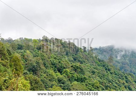 Beautiful Nature Landscape Of Green Forests And Peaks Of Pha Chu Thong Look From A Distance At Lan H
