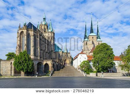 Dom Hill Of Erfurt Germany Under Soft Cloudy Blue Sky