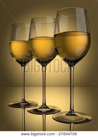 3 White Wine Glasses