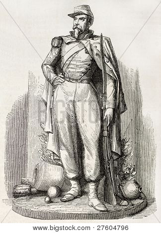 Pont de l'Alma military statue, Paris: Artilleur a pied (foot gunner). Created by Marc after sculpture of Arnaud, published on L'Illustration, Journal Universel, Paris, 1858 poster