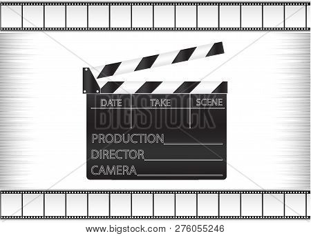 Black Movie Clapperboard And Cine-film On Gray Background Vector Image
