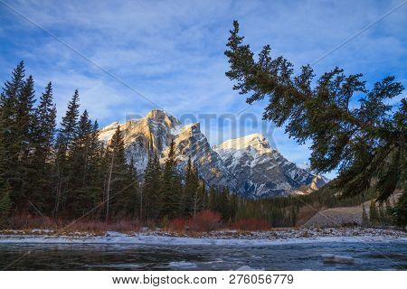 Mount Kidd, A Mountain In Kananaskis In The Canadian Rocky Mountains, Alberta, Canada And The Kanana