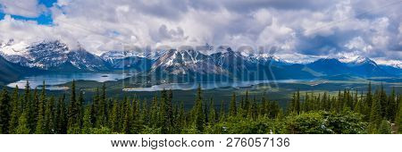 A Panoramic View Of The Kananaskis Valley Including The Upper And Lower Kananaskis Lakes From The Ka