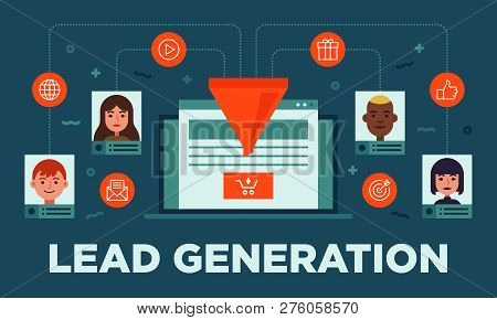 Lead Management, Lead Generation, Conversion, Online Sales Optimization Flat Vector Banner Illustrat