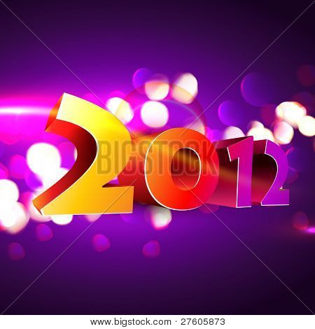 stylish happy new year 3d style vector background