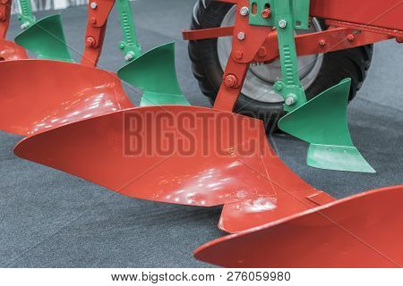 Agricultural Plow. Plow For Deep Plowing. Subsoiler Or Flat Lifter. Plow On Trailer For Tractor. Plo