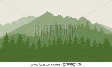 Trees (forest) On Mountainous Terrain Silhouette. Vector Illustration
