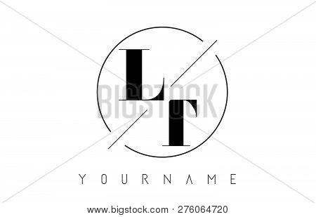 Lt Letter Logo With Cutted And Intersected Design And Round Frame Vector Illustration