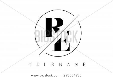 Re Letter Logo With Cutted And Intersected Design And Round Frame Vector Illustration