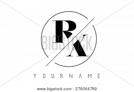 Rx Letter Logo With Cutted And Intersected Design And Round Frame Vector Illustration