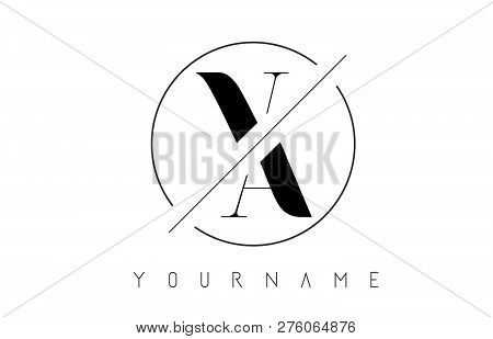 Va Letter Logo With Cutted And Intersected Design And Round Frame Vector Illustration