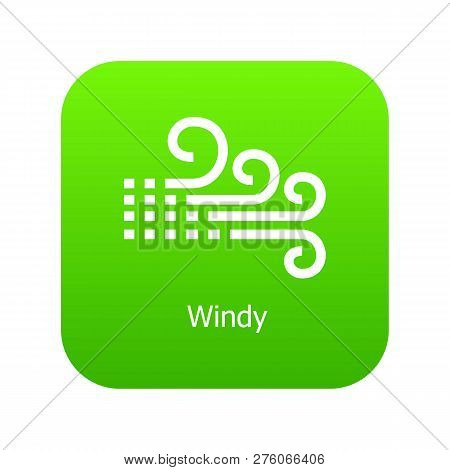 Windy Icon Green Isolated On White Background