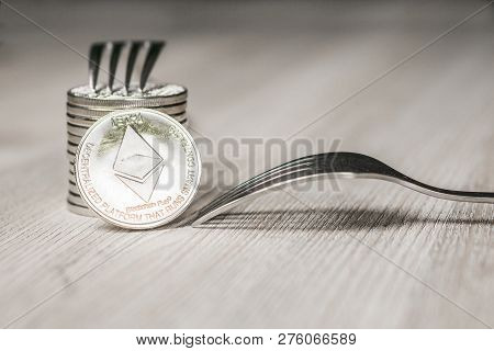 Ethereum Getting New Hard Fork Change, Physical Silver Crytocurrency Coin With Fork, Blockchain Conc